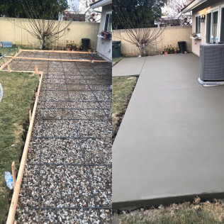 back concrete patio